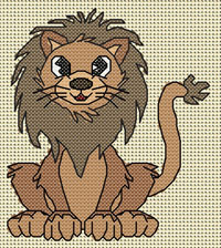 Lenny Lion cross stitch design, Candice's Critters