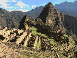 Machu Picchu cross stitch design, Candice Crafts Cross Stitch Shop